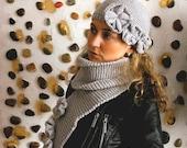 Grey Hat & Scarf Set