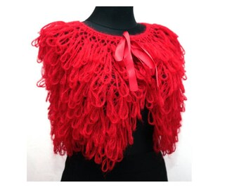 Poncho Red Shrug Knitted