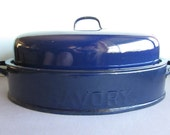 Vintage blue enamelware roasting pan with lid embossed savory