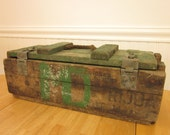 RESERVED  Vintage tool box handmade painted wood with rope handle