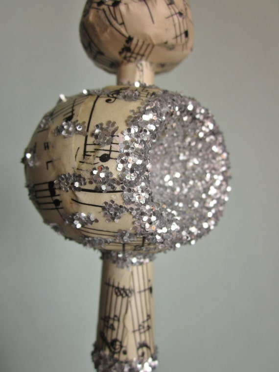 Christmas tree topper vintage music sheet decoupaged with silver glitter