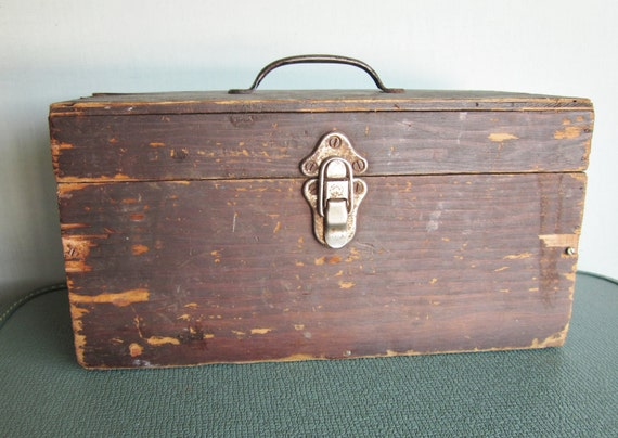 SALE Vintage wooden tool box handmade with latch and handle