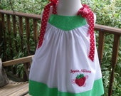 Girls Strawberry Birthday Dress Polka dot white red green Infant 9mo,12mos, 18mos 2T,3T,4T