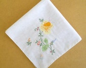 vintage 50s embroidered daffodil hankie flower applique  hand made lucy rockabilly mad men