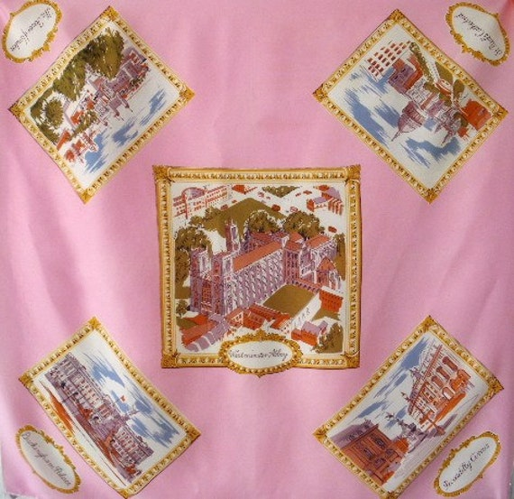 vintage london souvenir scarf 60s pink scenic rayon hand rolled scarf england 30 x 31  free shippng