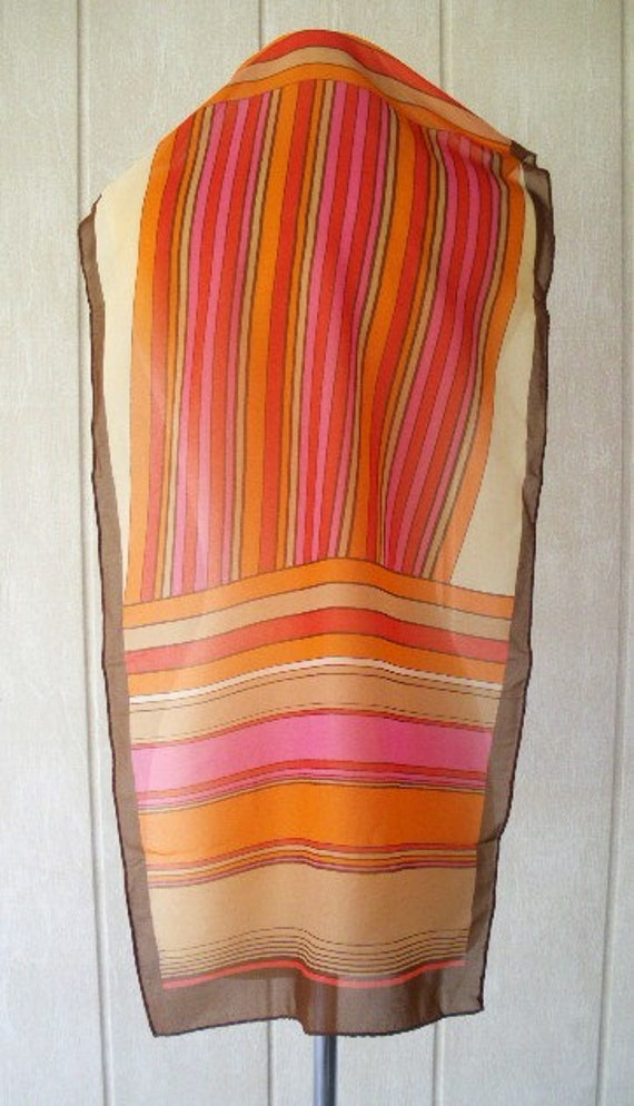 vintage chiffon scarf 60s colorful stripe scarf head wrap 40 x 15  hand rolled mad men free shipping