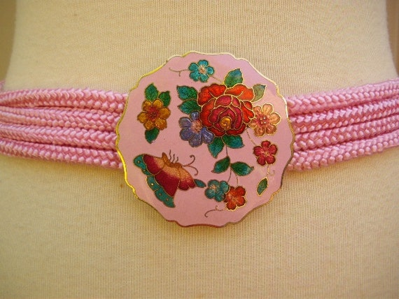 vintage cloisonne belt 80s pink butterfly roses flowers buckle girly girl new wave