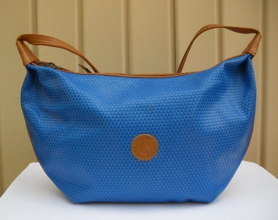 vintage hobo bag purse 80s liz claiborne vivid blue large hobo satchel bag logo new wave