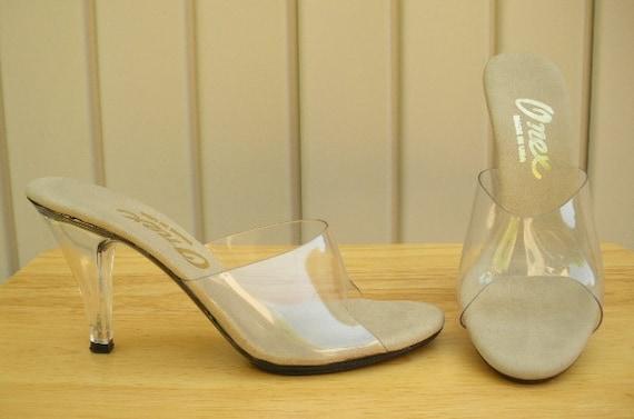 Vintage Clear Heels 80s Open Toe Clear Lucite Slides Heels 6