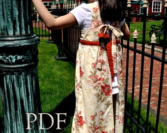 Classic Girls Full Apron, Regency Era Inspired, pdf Sewing Pattern, Thumbprint Patterns, ebook, Pattern ONLY