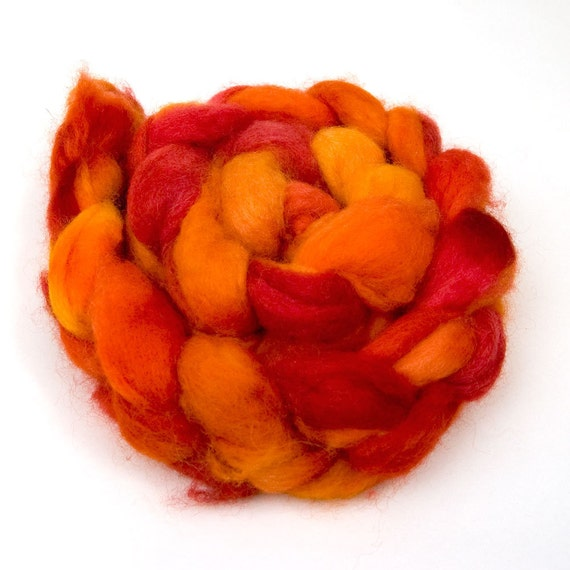 "Coopworth Hand-dyed Roving ""Firestar"" 5 oz"