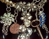 Charm Necklace Religious Cross Pendant Skeleton Key Chandelier Crystal
