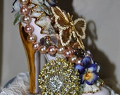 RESERVED Brooch Bouquet Cake Topper High Heel Shoe Vintage Wedding Victorian Wedding Glam OOAK