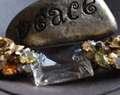 Chandelier Crystal Bracelet with Rose Jeweled Accents, Vintage, Statement Piece, OOAK
