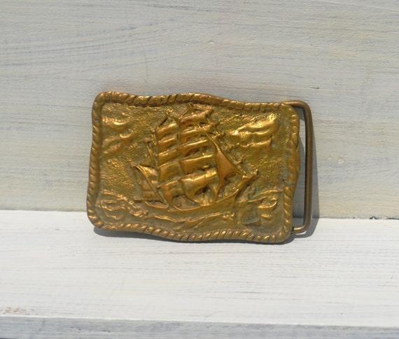Brass Clipper Ship Belt Buckle Vintage
