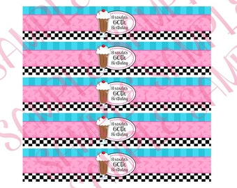 1950's Birthday Party Water Bottle Labels, 50's, sock hop, diner