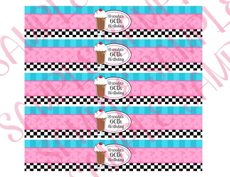 50\'s Diner Theme Party: Water Bottle Labels | 50\'s Diner Theme ...