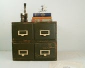 circa 1950 wood army green file box