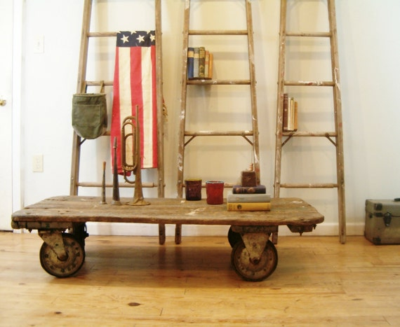 circa 1940 vintage coffee table industrial factory cart