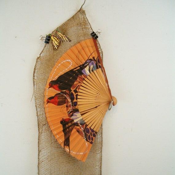 circa 1900 folding fan w. swallows