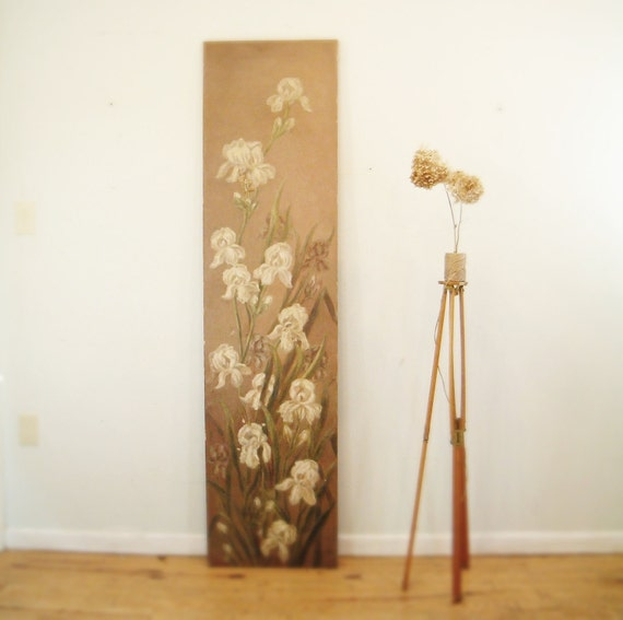 oil painting, floral painting, oil on canvas painting, antique oil painting, large painting, BOTANICAL painting, , irises