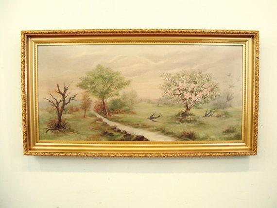 antique oil painting,vintage oil painting,swallows,birds,flowers,landscape,gilt frame,farmhouse decor,wall decor,swallows,trees,stream