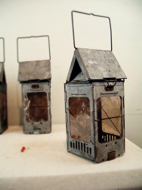 Circa 1900 Antique Industrial Folding Candle Lantern Votive
