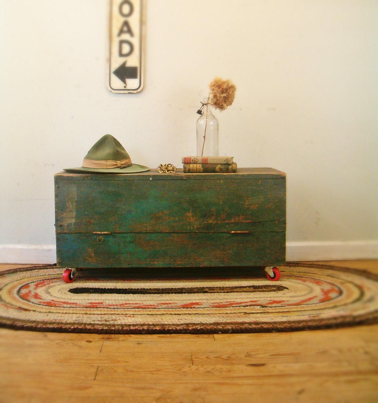 Circa 1930 Industrial Coffee Table Repurposed Carpenters Tool