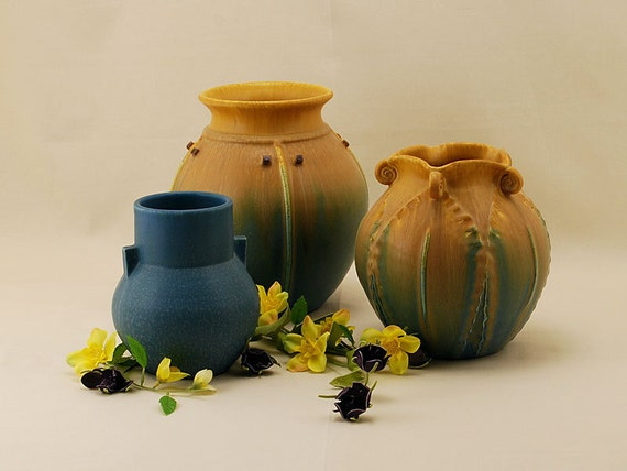 Sale  Catalog Group in Spring Mix - Door Pottery- Arts & Crafts Pottery-Handmade Art Pottery