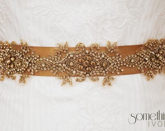 SALE!!! PENNY - Beaded Bridal Wedding Sash in Vintage Dark Gold