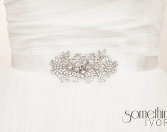 PENNY I - Rhinestone Beaded Bridal Wedding Sash