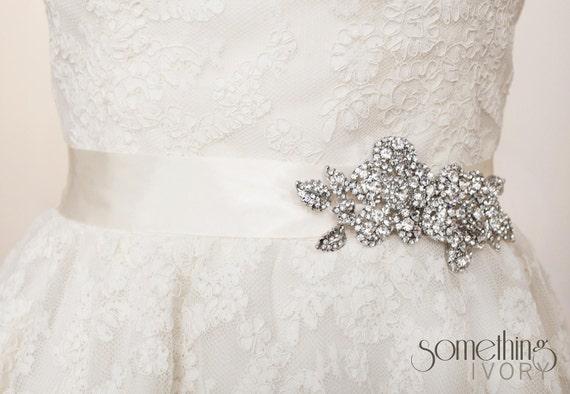 CARMEN - Bridal Wedding Sash with Rosette Brooch