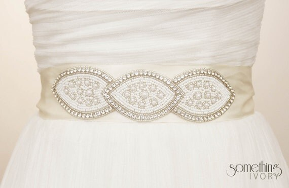MEG - Beaded Bridal Sash with Rhinestones and Pearls