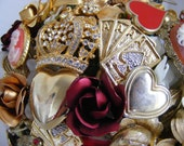 RESERVED Steampunk red wedding bouquet - Queen of Hearts