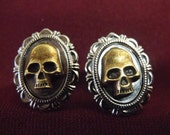 Gothic Bronze and Silver Skull Cufflinks  Mens Accessory Wedding Groomsmen