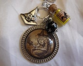 Silver Pendant Necklace,    Wicca Vintage Flying Witch Image Multiple Charms  Handmade
