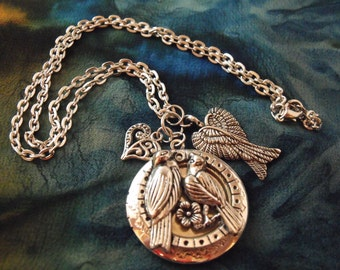 Silver Locket Necklace,  Dove, Love Birds With Charms Womens Gift  Handmade
