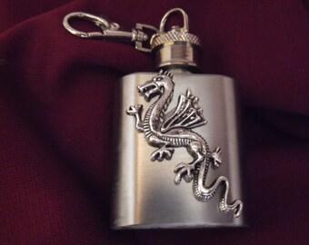 Flask,  Medieval Silver Flying Dragon Mini Key chain Flask  1 Ounce Handmade  Mens Womens Gift