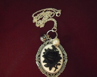 Silver Cameo Pendant Necklace,  Gothic Black Rose and White Cameo With Pearls Womens Gift Handmade