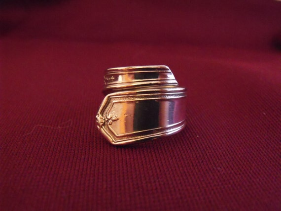 Silver Plated Spoon Ring Size seven and one half 7-1/2  US Antique