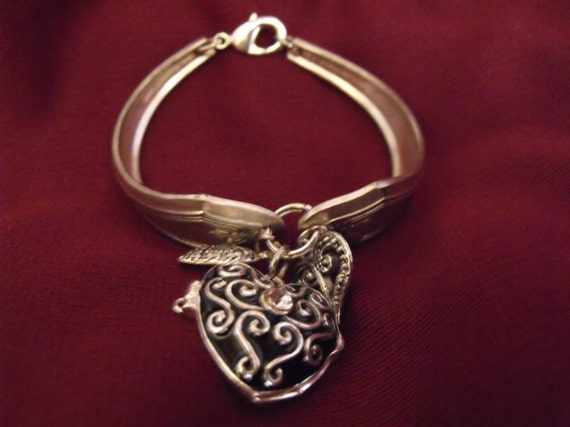 Locket Bracelet Traditional Vintage Silver Spoons recycled charms
