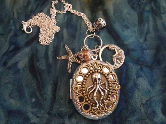 Silver locket Necklace,   Large Steampunk Octopus Locket With Pearls And Charms Womens Gift Handmade
