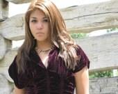 Reserved for Irene Caravan Dress  Purple Velvet Vintage Gypsy Ruched