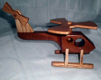 Police Helicopter Handcrafted Wood