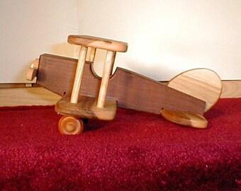 Handcrafted Wooden Biplane