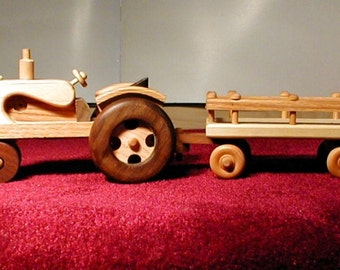 Handcrafted Wooden Tractor Wagon