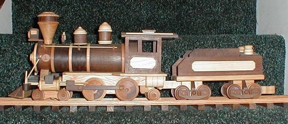 Wooden Steam Engine and Tender Handcrafted Collectible