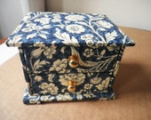 Storage Wooden Box Buttons Floral Design with its contents