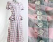 1940s L'Aiglon Peplum Skirt & Blouse Set - XS - S