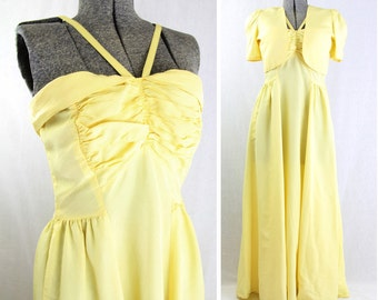 1940s Buttercup Yellow Gown and Bolero - S